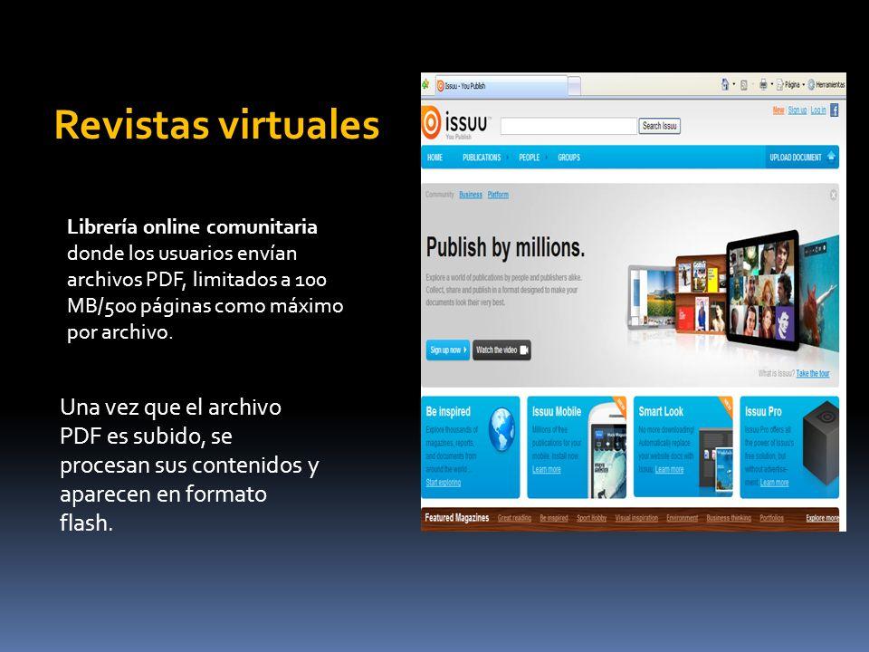 Revistas virtuales Librería online comunitaria donde los usuarios envían archivos PDF, limitados a 100 MB/500 páginas como máximo por archivo.