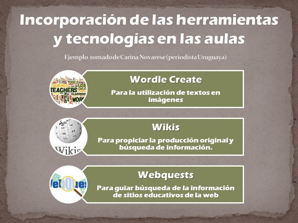 Wordle Create Para la utilización de textos en imágenes Wikis Para propiciar la producción original y búsqueda de información. Webquests Para guiar bú