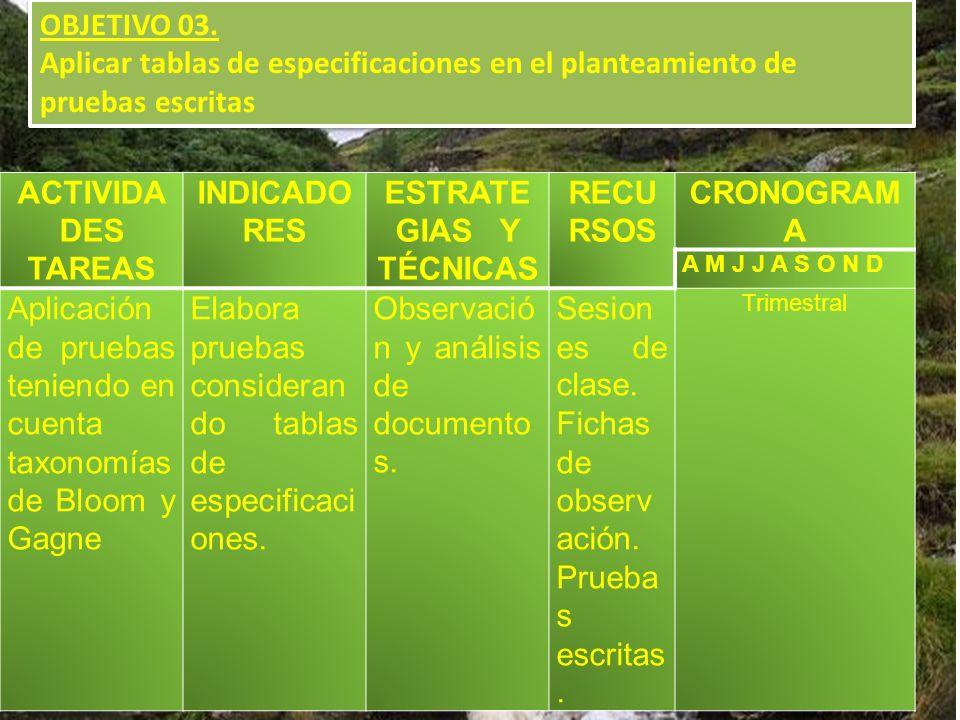 OBJETIVO 03. Aplicar tablas de especificaciones en el planteamiento de pruebas escritas OBJETIVO 03. Aplicar tablas de especificaciones en el planteam