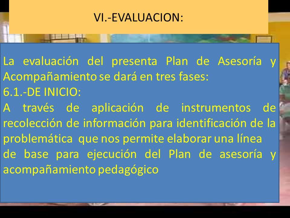 VI.-EVALUACION: La evaluación del presenta Plan de Asesoría y Acompañamiento se dará en tres fases: 6.1.-DE INICIO: A través de aplicación de instrume