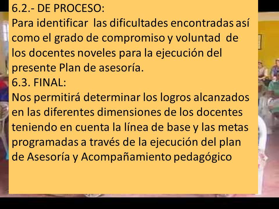 6.2.- DE PROCESO: Para identificar las dificultades encontradas así como el grado de compromiso y voluntad de los docentes noveles para la ejecución d
