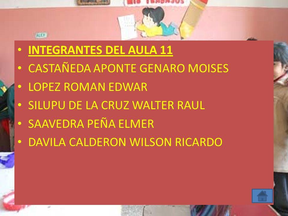 INTEGRANTES DEL AULA 11 CASTAÑEDA APONTE GENARO MOISES LOPEZ ROMAN EDWAR SILUPU DE LA CRUZ WALTER RAUL SAAVEDRA PEÑA ELMER DAVILA CALDERON WILSON RICA