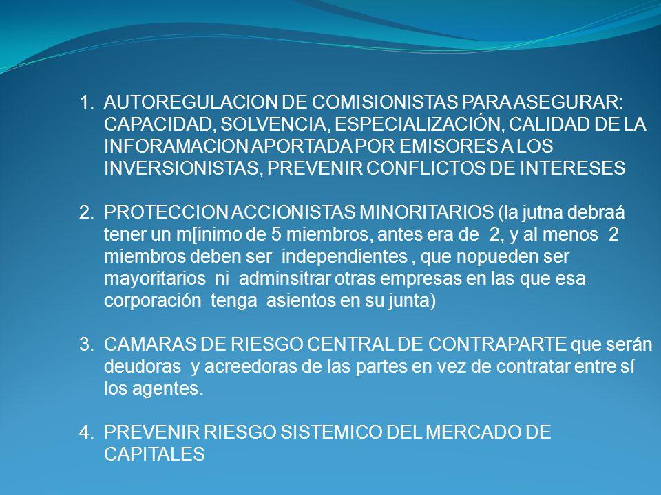 1.AUTOREGULACION DE COMISIONISTAS PARA ASEGURAR: CAPACIDAD, SOLVENCIA, ESPECIALIZACIÓN, CALIDAD DE LA INFORAMACION APORTADA POR EMISORES A LOS INVERSIONISTAS, PREVENIR CONFLICTOS DE INTERESES 2.PROTECCION ACCIONISTAS MINORITARIOS (la jutna debraá tener un m[inimo de 5 miembros, antes era de 2, y al menos 2 miembros deben ser independientes, que nopueden ser mayoritarios ni adminsitrar otras empresas en las que esa corporación tenga asientos en su junta) 3.CAMARAS DE RIESGO CENTRAL DE CONTRAPARTE que serán deudoras y acreedoras de las partes en vez de contratar entre sí los agentes.
