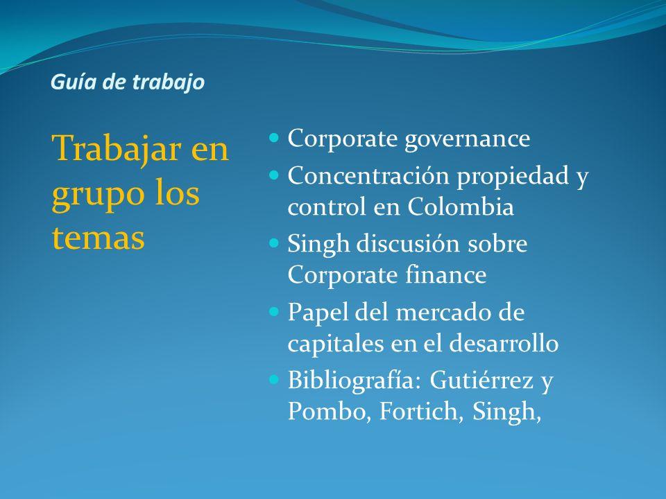 Guía de trabajo Trabajar en grupo los temas Corporate governance Concentración propiedad y control en Colombia Singh discusión sobre Corporate finance
