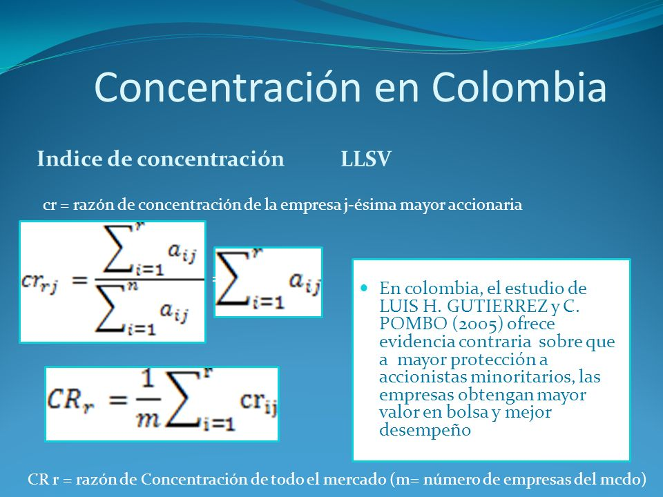 Concentración en Colombia Indice de concentración LLSV En colombia, el estudio de LUIS H. GUTIERREZ y C. POMBO (2005) ofrece evidencia contraria sobre