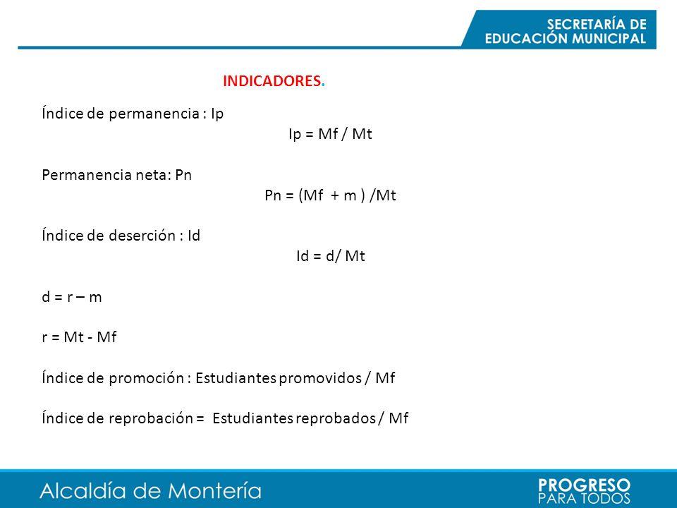 INDICADORES. Índice de permanencia : Ip Ip = Mf / Mt Permanencia neta: Pn Pn = (Mf + m ) /Mt Índice de deserción : Id Id = d/ Mt d = r – m r = Mt - Mf