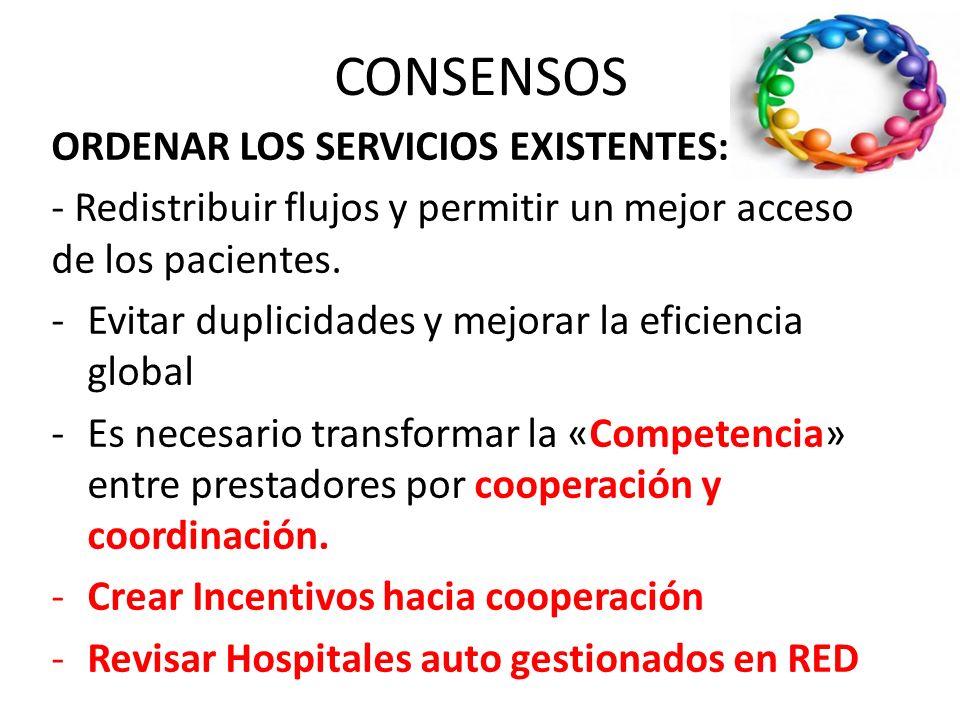 CONSENSOS CARACTERISTICAS DE LA RISS Redes de servicios: El modelo que se persigue es el de un sistema en el cual las personas pueden acceder a una re