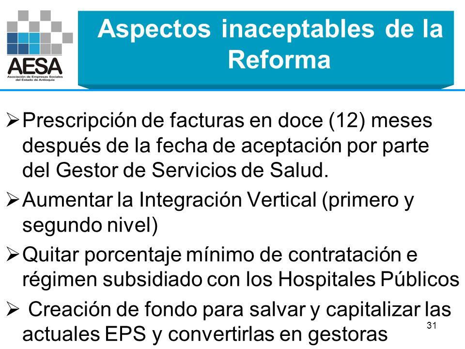 Aspectos inaceptables de la Reforma Anteponer la sostenibilidad fiscal al derecho a la salud. Exclusiones a cargo del MSPS Utilidades de Gestoras cond
