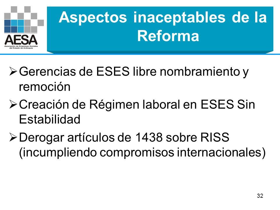 Aspectos inaceptables de la Reforma Prescripción de facturas en doce (12) meses después de la fecha de aceptación por parte del Gestor de Servicios de