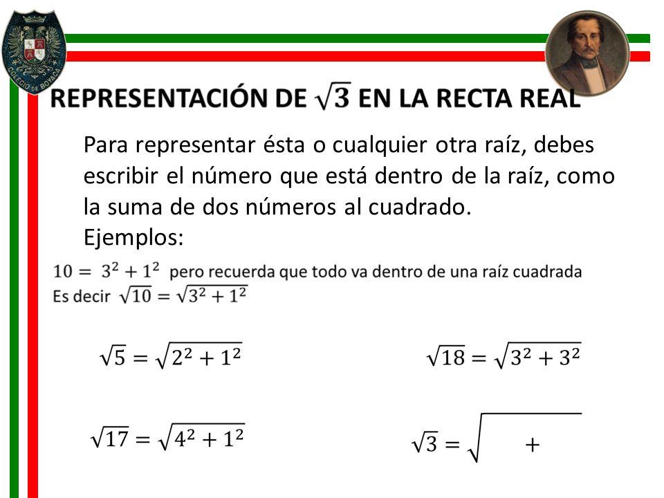 Para representar ésta o cualquier otra raíz, debes escribir el número que está dentro de la raíz, como la suma de dos números al cuadrado. Ejemplos: