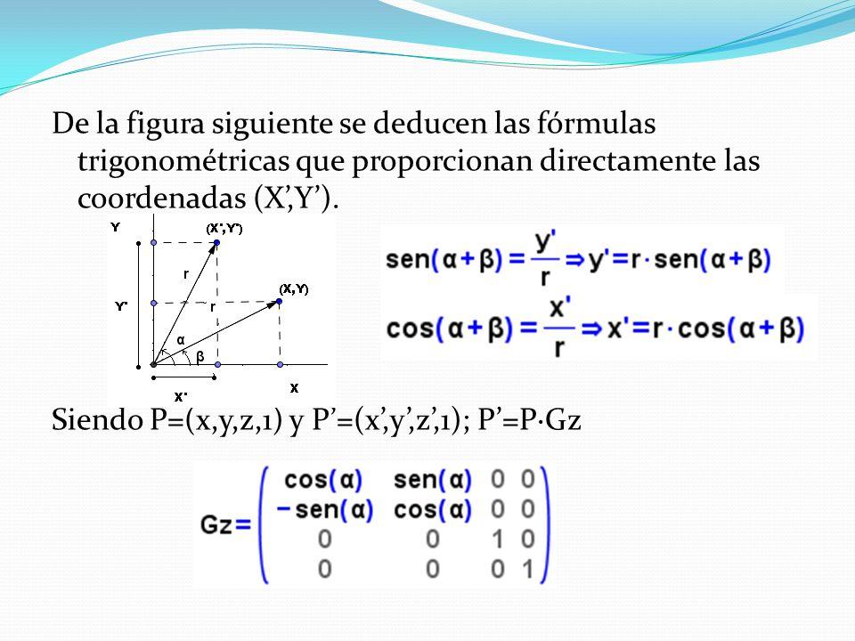 De la figura siguiente se deducen las fórmulas trigonométricas que proporcionan directamente las coordenadas (X,Y). Siendo P=(x,y,z,1) y P=(x,y,z,1);