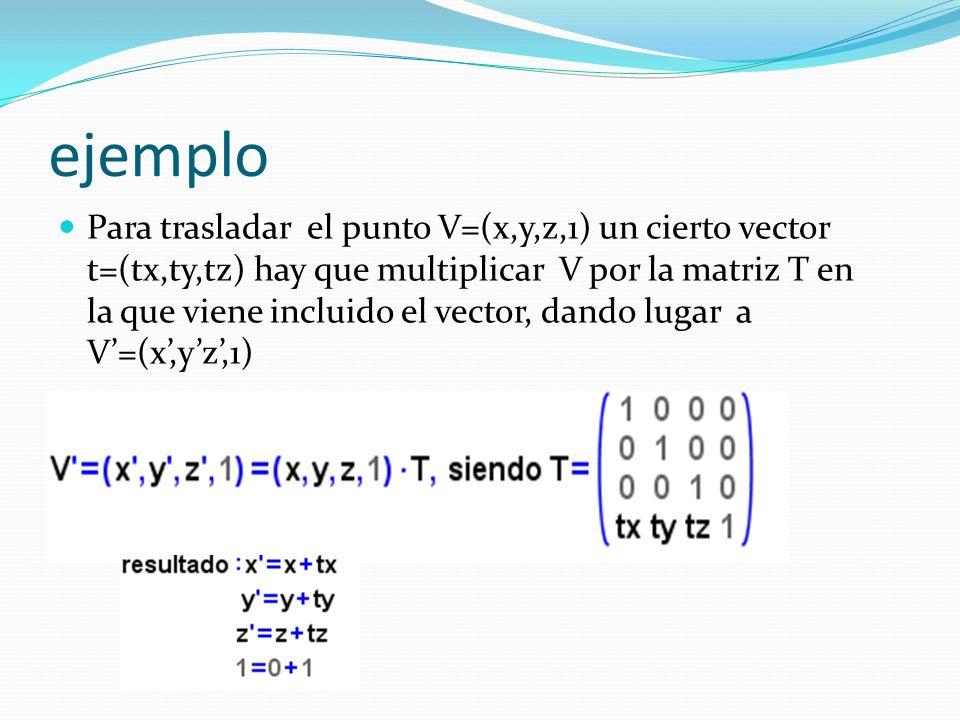 ejemplo Para trasladar el punto V=(x,y,z,1) un cierto vector t=(tx,ty,tz) hay que multiplicar V por la matriz T en la que viene incluido el vector, dando lugar a V=(x,yz,1)