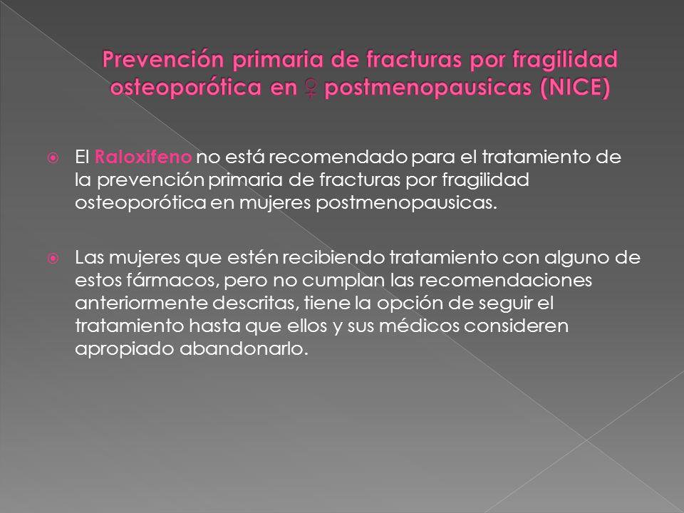 El Raloxifeno no está recomendado para el tratamiento de la prevención primaria de fracturas por fragilidad osteoporótica en mujeres postmenopausicas.