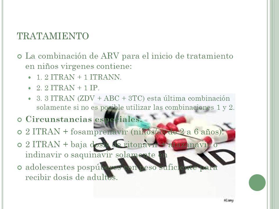 TRATAMIENTO La combinación de ARV para el inicio de tratamiento en niños virgenes contiene: 1. 2 ITRAN + 1 ITRANN. 2. 2 ITRAN + 1 IP. 3. 3 ITRAN (ZDV