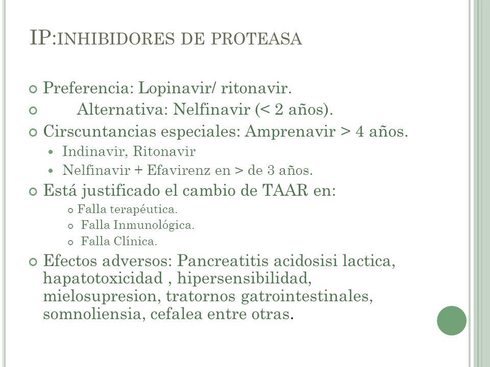 IP: INHIBIDORES DE PROTEASA Preferencia: Lopinavir/ ritonavir. Alternativa: Nelfinavir (< 2 años). Cirscuntancias especiales: Amprenavir > 4 años. Ind