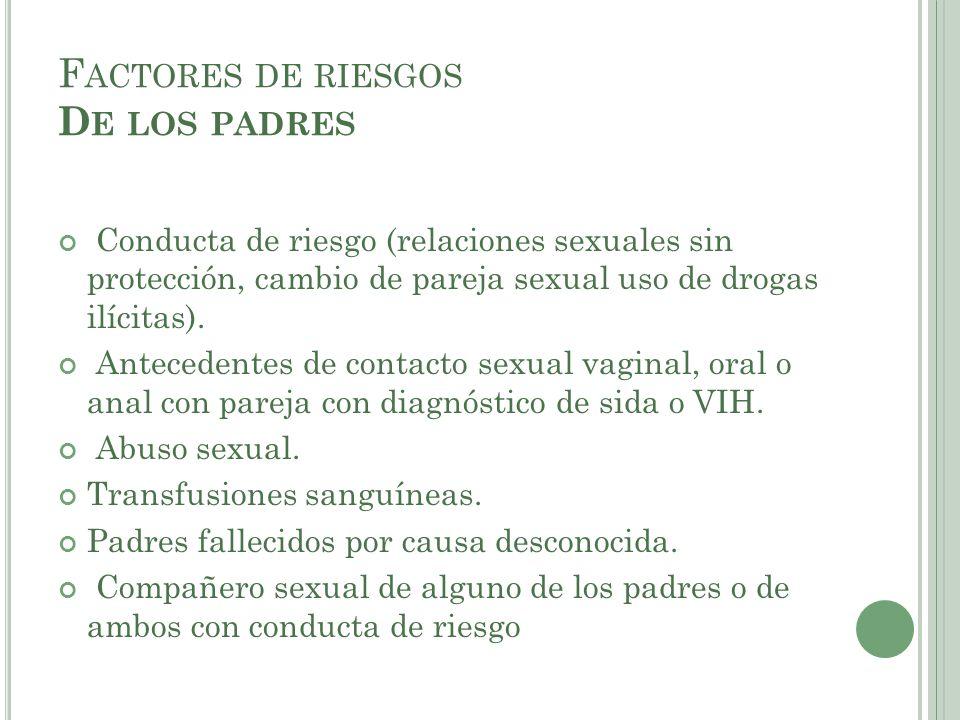 F ACTORES DE RIESGOS D E LOS PADRES Conducta de riesgo (relaciones sexuales sin protección, cambio de pareja sexual uso de drogas ilícitas). Anteceden
