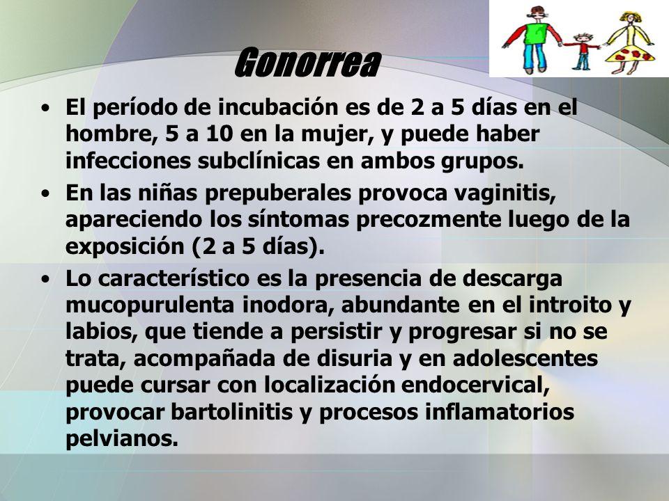 Gonorrea El período de incubación es de 2 a 5 días en el hombre, 5 a 10 en la mujer, y puede haber infecciones subclínicas en ambos grupos. En las niñ
