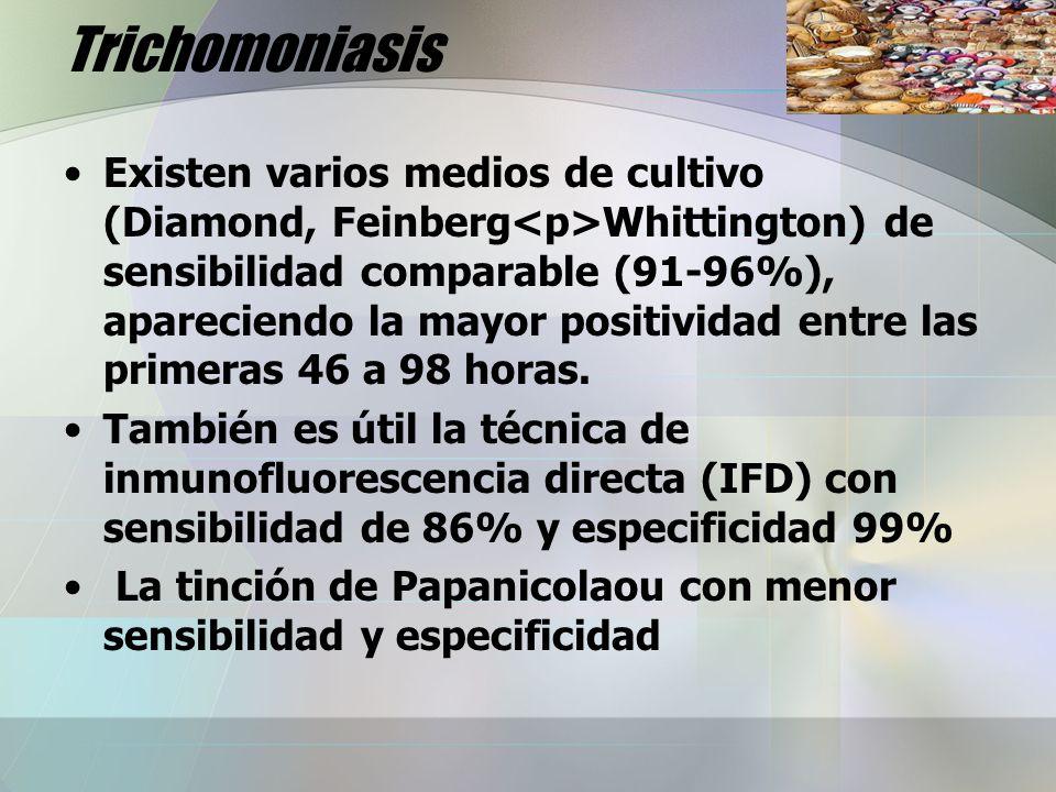 Trichomoniasis Existen varios medios de cultivo (Diamond, Feinberg Whittington) de sensibilidad comparable (91-96%), apareciendo la mayor positividad