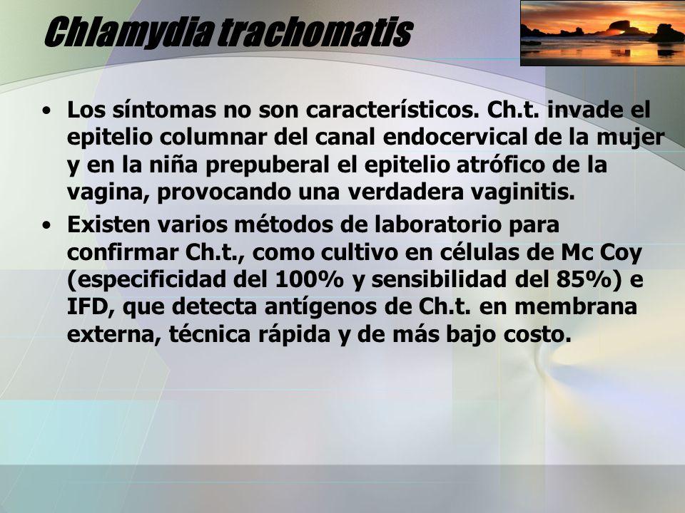 Chlamydia trachomatis Los síntomas no son característicos. Ch.t. invade el epitelio columnar del canal endocervical de la mujer y en la niña prepubera
