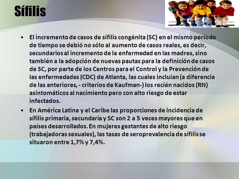 Sífilis El incremento de casos de sífilis congénita (SC) en el mismo período de tiempo se debió no sólo al aumento de casos reales, es decir, secundar