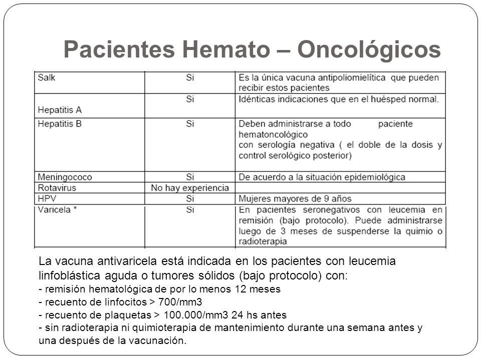 La vacuna antivaricela está indicada en los pacientes con leucemia linfoblástica aguda o tumores sólidos (bajo protocolo) con: - remisión hematológica