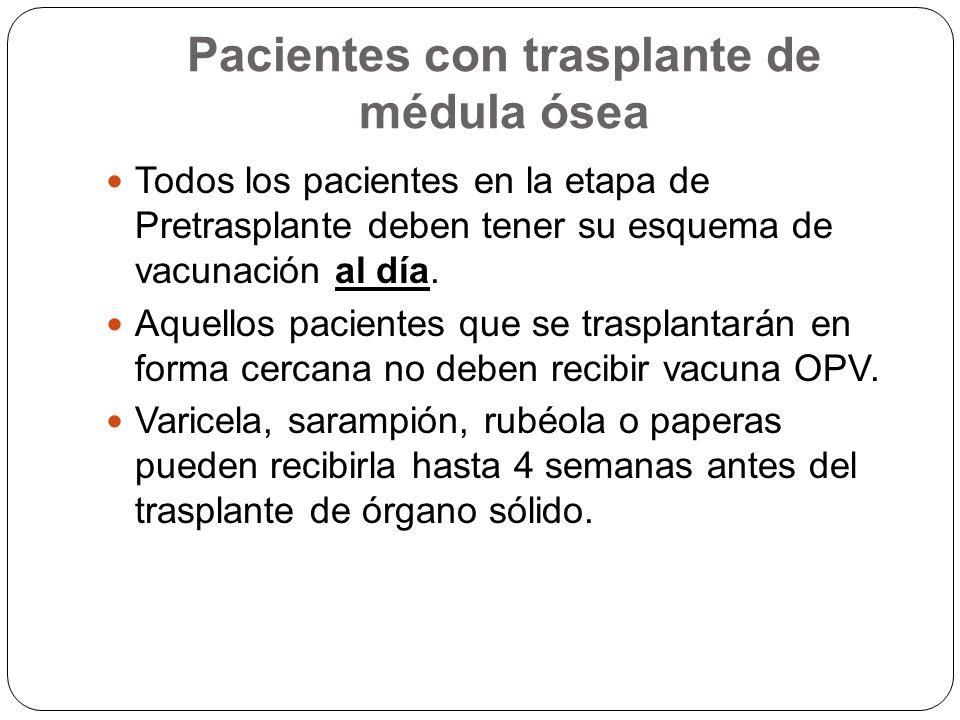 Postrasplante de Organo sólido Es necesaria para proteger a aquellos pacientes que no lograron títulos protectores en el pre-trasplante o durante la etapa postrasplante perdieron sus anticuerpos.