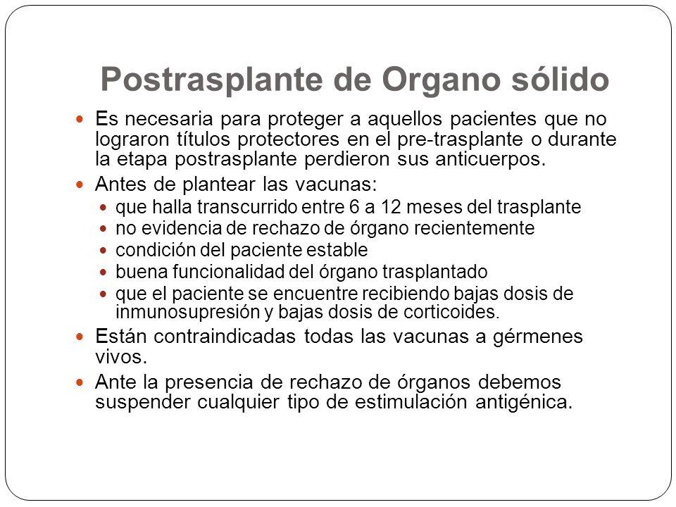 Postrasplante de Organo sólido Es necesaria para proteger a aquellos pacientes que no lograron títulos protectores en el pre-trasplante o durante la e