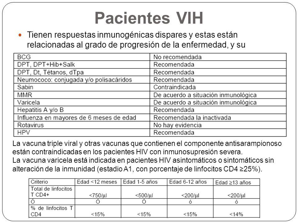 Pacientes VIH Tienen respuestas inmunogénicas dispares y estas están relacionadas al grado de progresión de la enfermedad, y su correspondiente compro