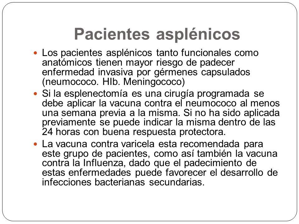 Pacientes asplénicos Los pacientes asplénicos tanto funcionales como anatómicos tienen mayor riesgo de padecer enfermedad invasiva por gérmenes capsul