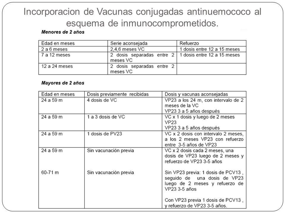Incorporacion de Vacunas conjugadas antinuemococo al esquema de inmunocomprometidos.