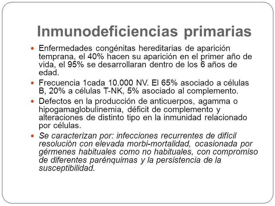 Inmunodeficiencias primarias Enfermedades congénitas hereditarias de aparición temprana, el 40% hacen su aparición en el primer año de vida, el 95% se