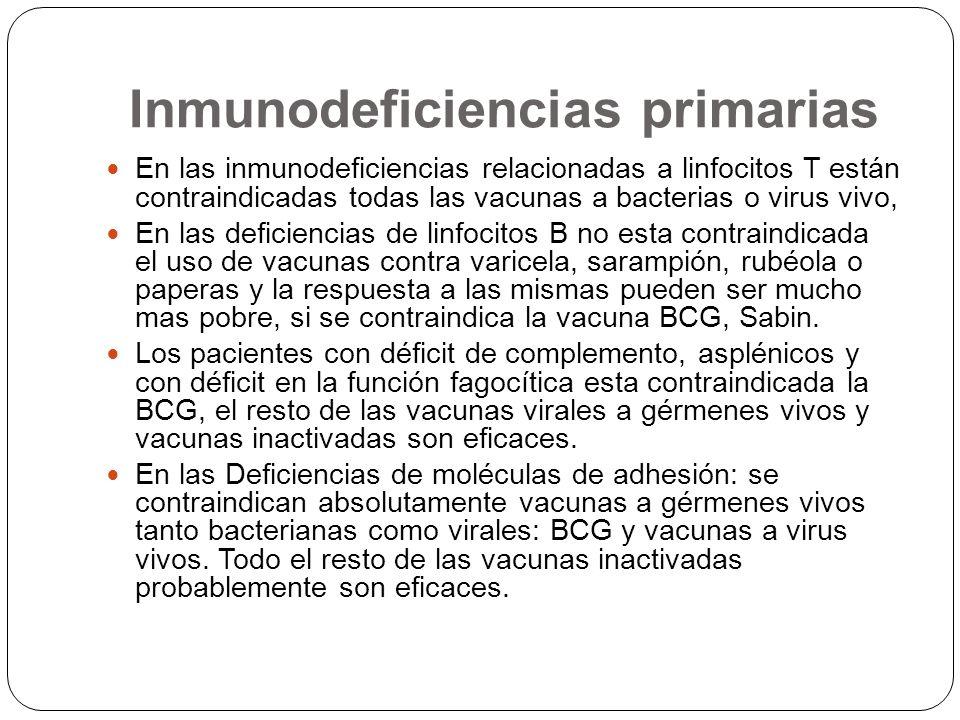 Inmunodeficiencias primarias En las inmunodeficiencias relacionadas a linfocitos T están contraindicadas todas las vacunas a bacterias o virus vivo, E