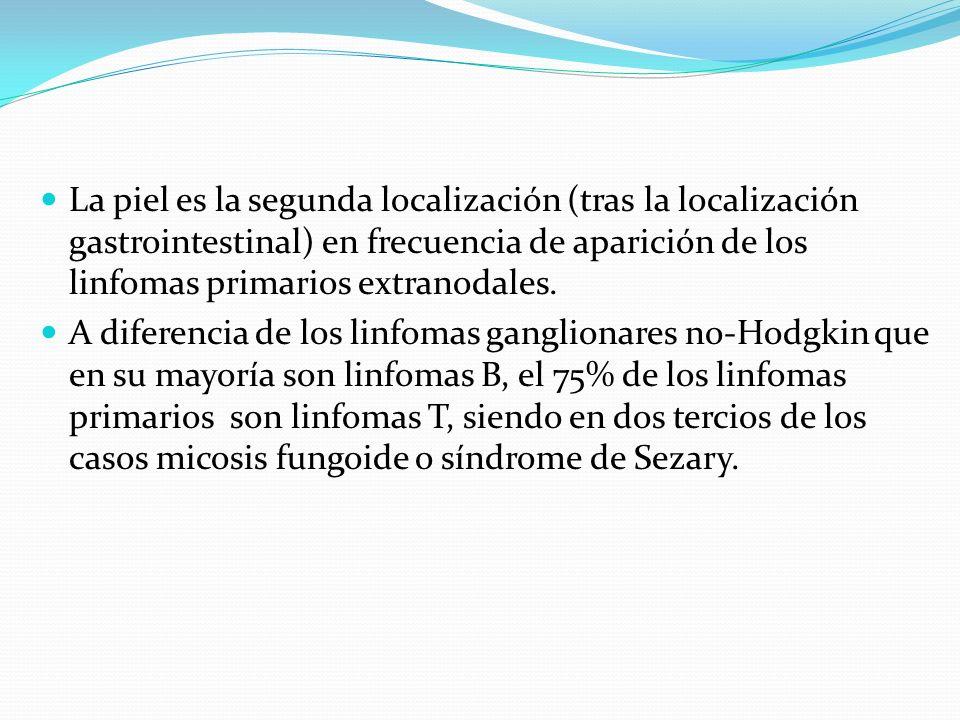 La piel es la segunda localización (tras la localización gastrointestinal) en frecuencia de aparición de los linfomas primarios extranodales. A difere