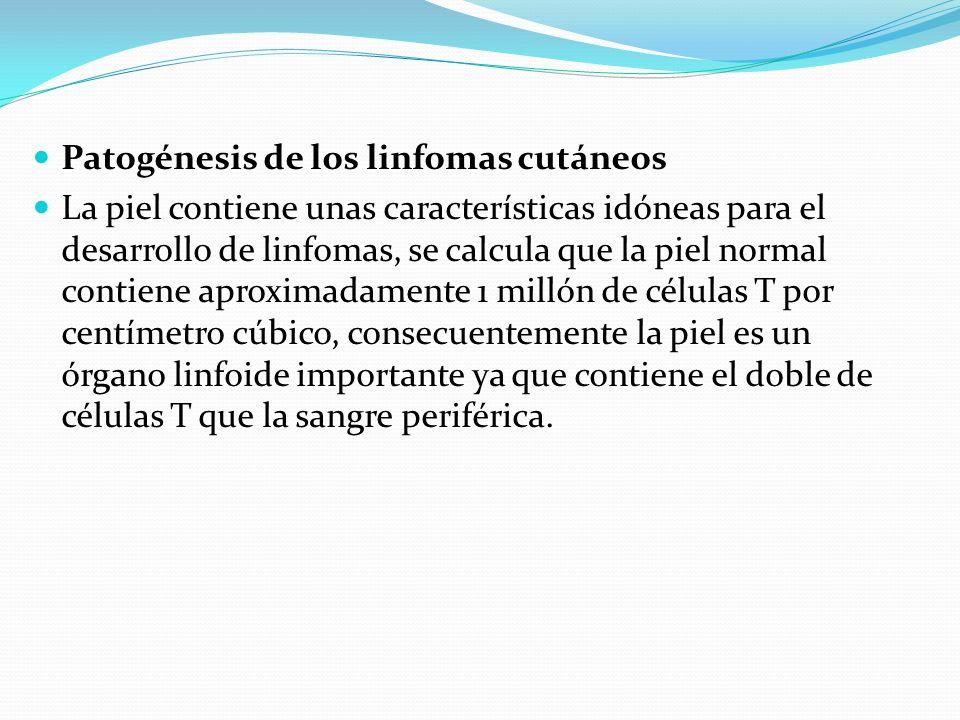 Patogénesis de los linfomas cutáneos La piel contiene unas características idóneas para el desarrollo de linfomas, se calcula que la piel normal conti
