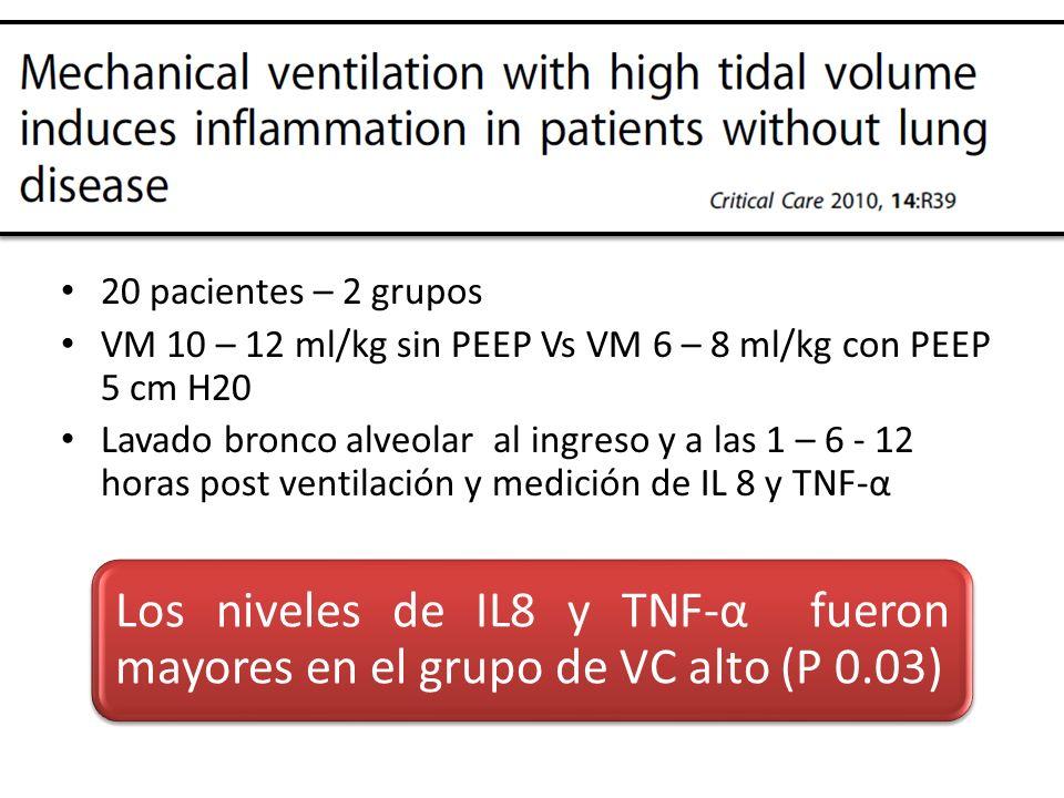 20 pacientes – 2 grupos VM 10 – 12 ml/kg sin PEEP Vs VM 6 – 8 ml/kg con PEEP 5 cm H20 Lavado bronco alveolar al ingreso y a las 1 – 6 - 12 horas post