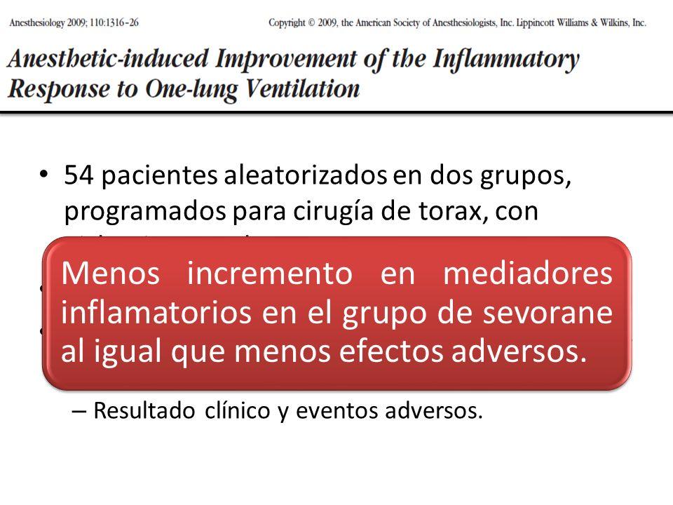 54 pacientes aleatorizados en dos grupos, programados para cirugía de torax, con aislamiento pulmonar. TIVA (propofol + remi) VS Sevorane + remi. Lava