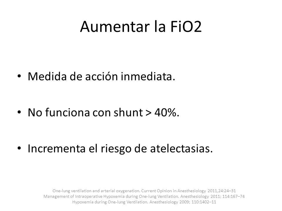 Aumentar la FiO2 Medida de acción inmediata. No funciona con shunt > 40%. Incrementa el riesgo de atelectasias. One-lung ventilation and arterial oxyg