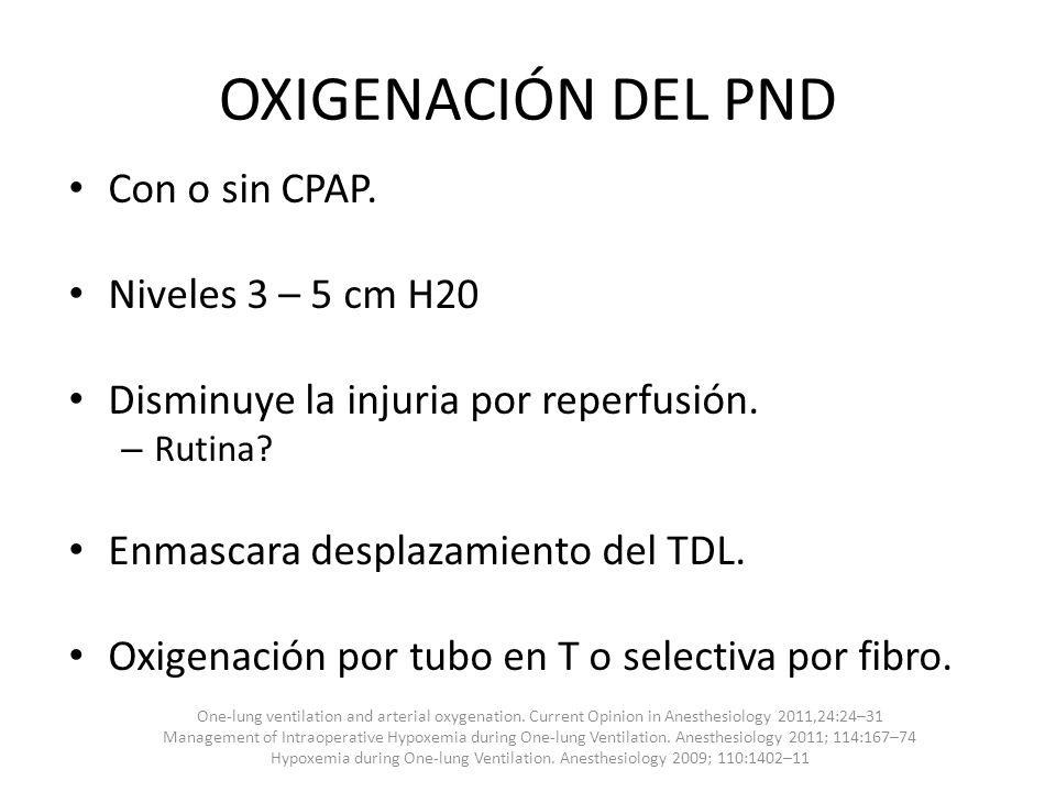 OXIGENACIÓN DEL PND Con o sin CPAP. Niveles 3 – 5 cm H20 Disminuye la injuria por reperfusión. – Rutina? Enmascara desplazamiento del TDL. Oxigenación