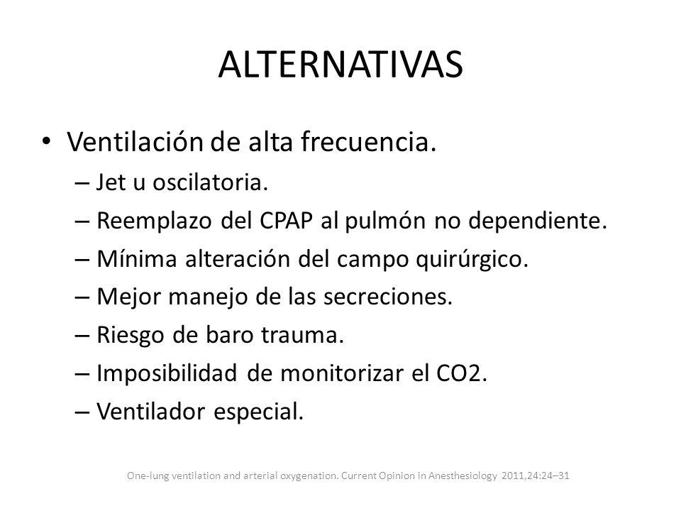 ALTERNATIVAS Ventilación de alta frecuencia. – Jet u oscilatoria. – Reemplazo del CPAP al pulmón no dependiente. – Mínima alteración del campo quirúrg