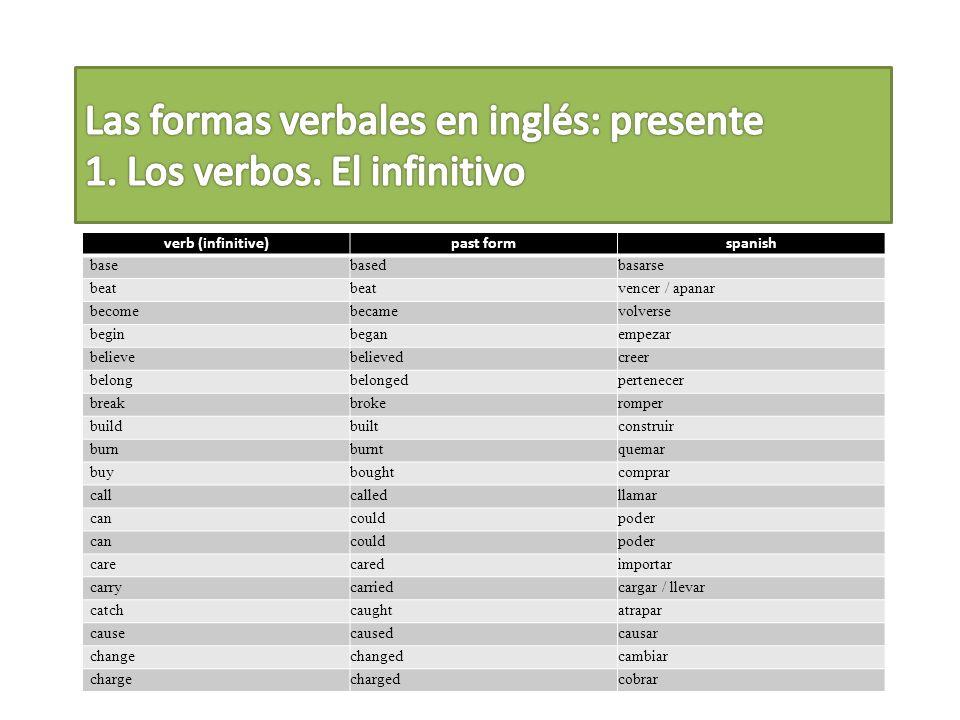 1 La mayoría de los verbos se mantienen igual.I.e.
