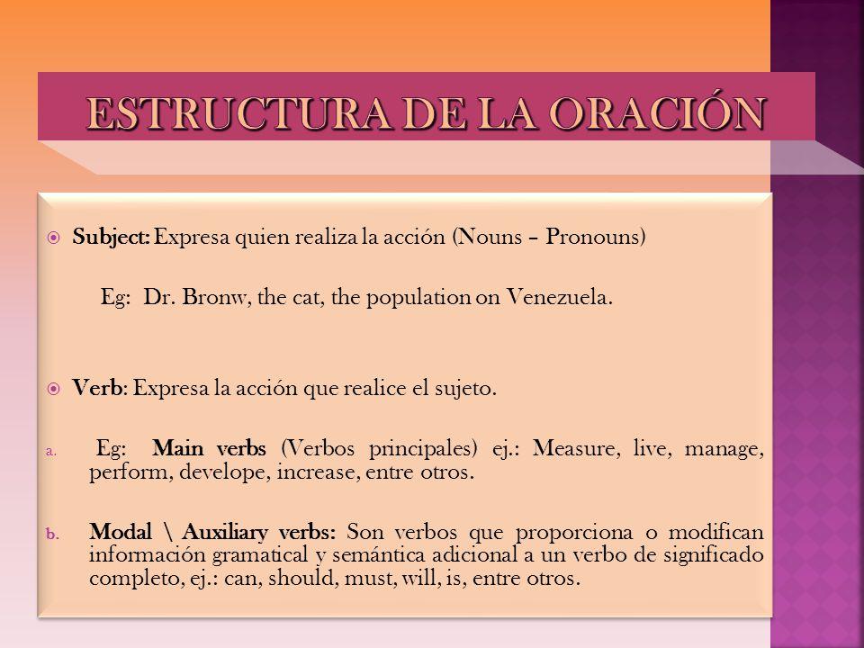 Subject: Expresa quien realiza la acción (Nouns – Pronouns) Eg: Dr. Bronw, the cat, the population on Venezuela. Verb: Expresa la acción que realice e