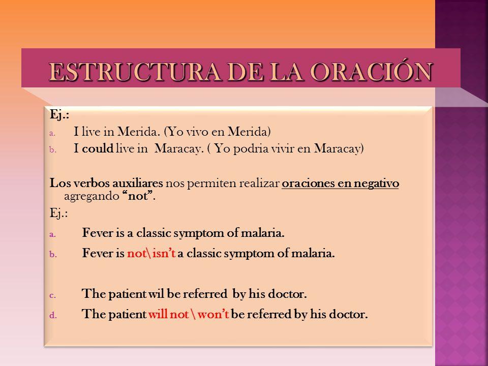 Ej.: a. I live in Merida. (Yo vivo en Merida) b. I could live in Maracay. ( Yo podria vivir en Maracay) Los verbos auxiliares nos permiten realizar or