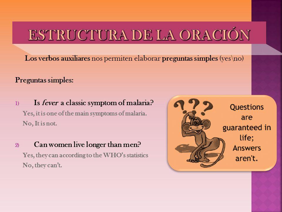 Los verbos auxiliares nos permiten elaborar preguntas simples (yes\no) Preguntas simples: 1) Is fever a classic symptom of malaria? Yes, it is one of
