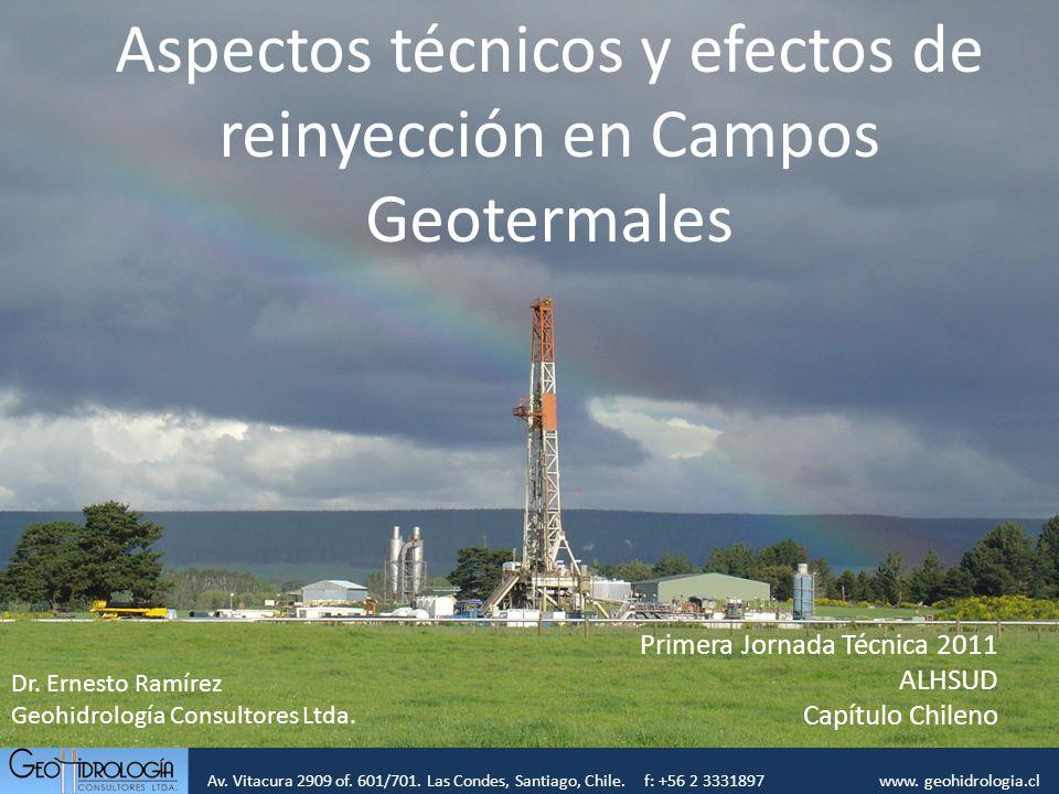Av. Vitacura 2909 of. 601/701. Las Condes, Santiago, Chile. f: +56 2 3331897 www. geohidrologia.cl Aspectos técnicos y efectos de reinyección en Campo