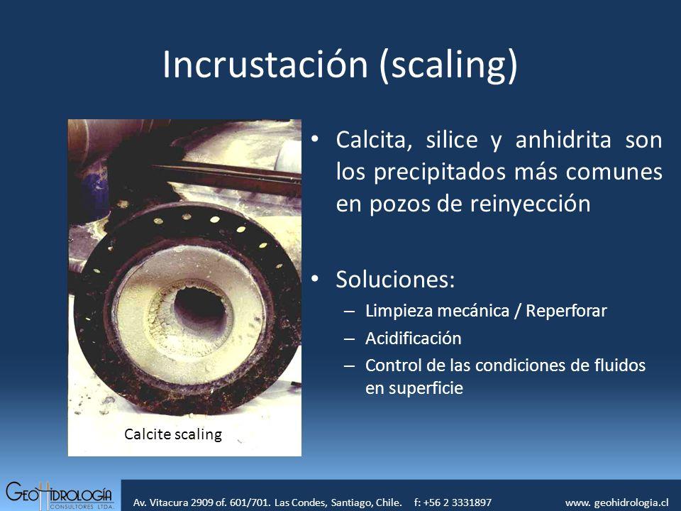 Av. Vitacura 2909 of. 601/701. Las Condes, Santiago, Chile. f: +56 2 3331897 www. geohidrologia.cl Incrustación (scaling) Calcita, silice y anhidrita