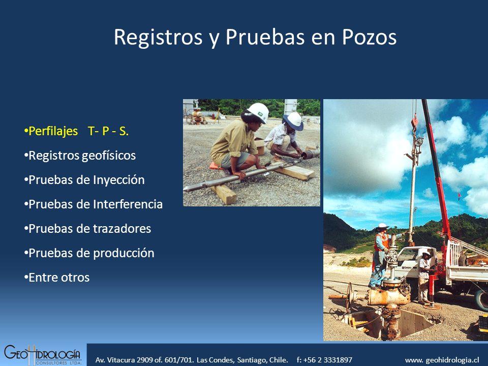 Av. Vitacura 2909 of. 601/701. Las Condes, Santiago, Chile. f: +56 2 3331897 www. geohidrologia.cl Registros y Pruebas en Pozos Perfilajes T- P - S. R