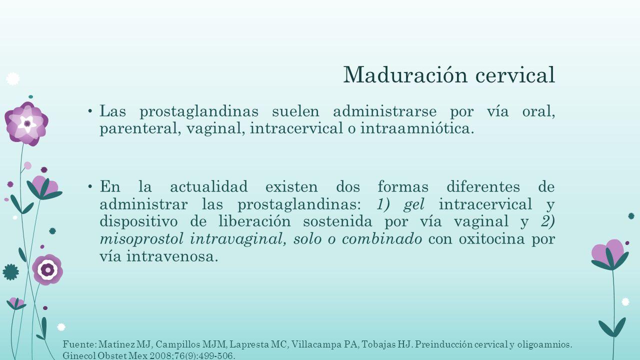 Maduración cervical Las prostaglandinas suelen administrarse por vía oral, parenteral, vaginal, intracervical o intraamniótica. En la actualidad exist