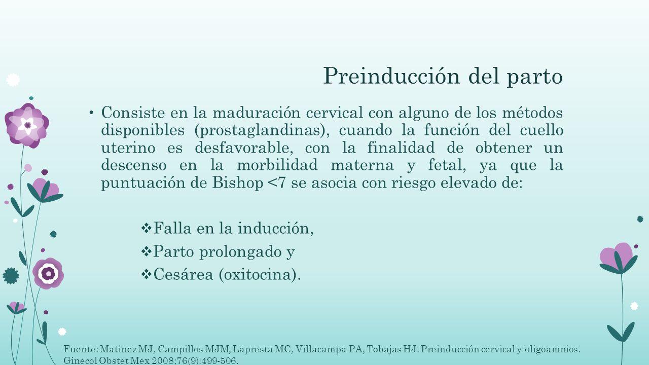 Preinducción del parto Consiste en la maduración cervical con alguno de los métodos disponibles (prostaglandinas), cuando la función del cuello uterin