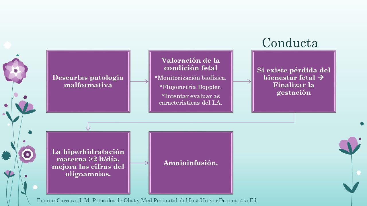 Conducta Descartas patología malformativa Valoración de la condición fetal *Monitorización biofísica. *Flujometría Doppler. *Intentar evaluar as carac