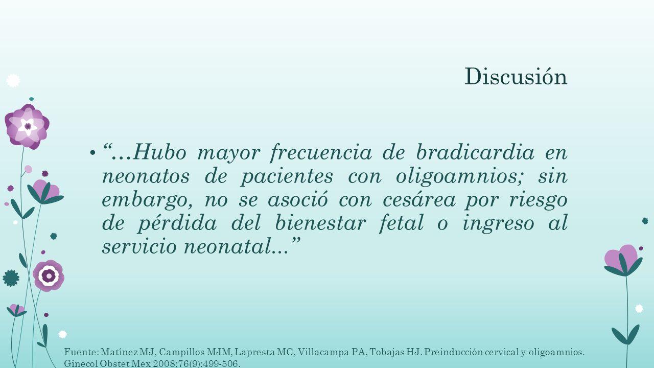 Discusión …Hubo mayor frecuencia de bradicardia en neonatos de pacientes con oligoamnios; sin embargo, no se asoció con cesárea por riesgo de pérdida